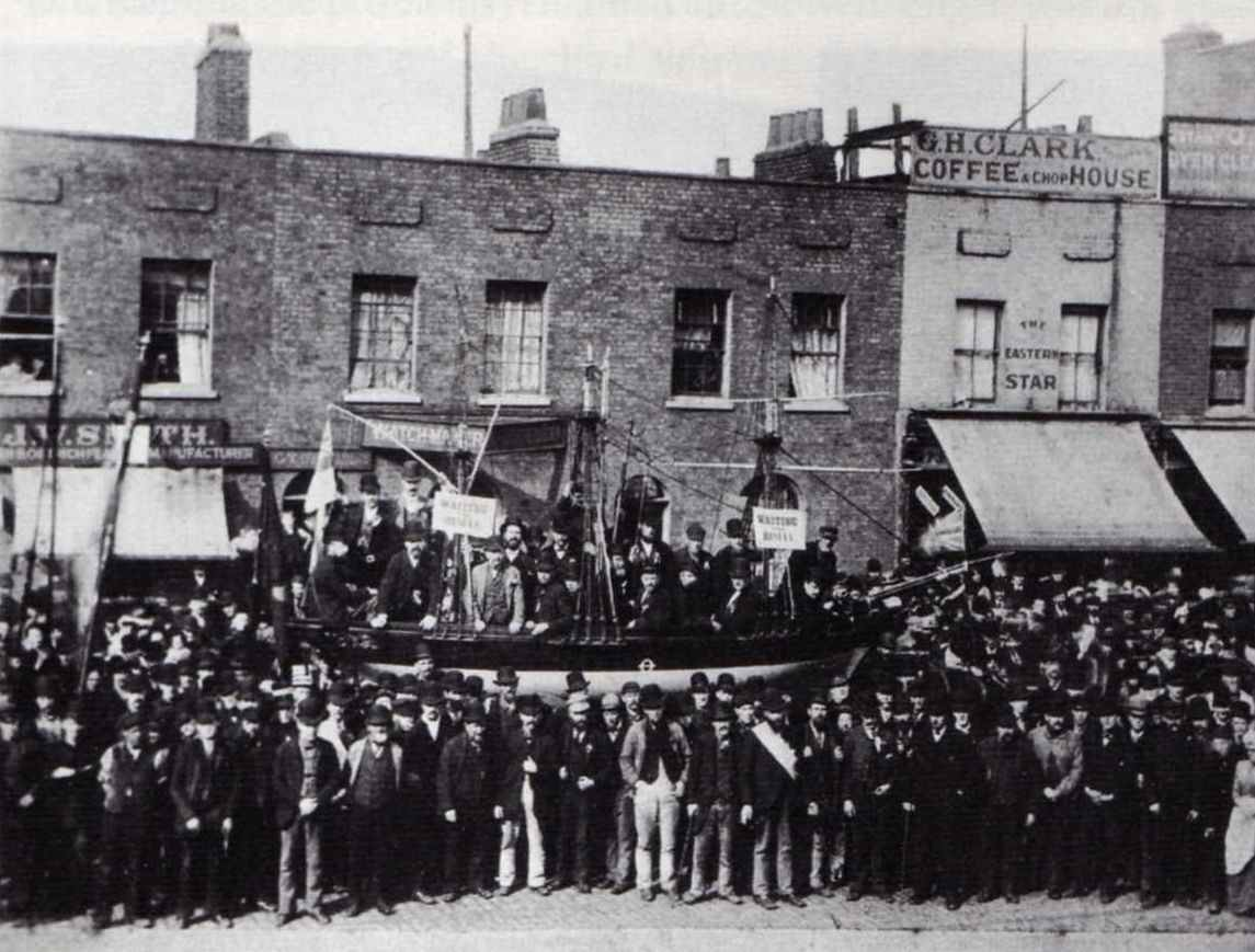 Stevedores' float on East India Dock Road, London, during the 1889 dockers' strike.